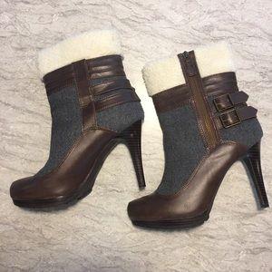 ELLE size US 10 faux fur, winter heel boot.